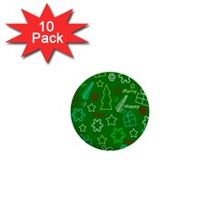 Green Xmas pattern 1  Mini Buttons (10 pack)
