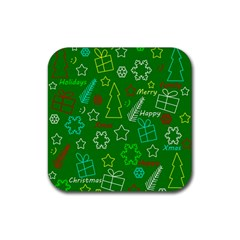 Green Xmas pattern Rubber Square Coaster (4 pack)