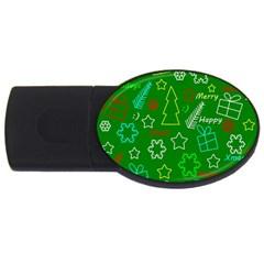 Green Xmas pattern USB Flash Drive Oval (4 GB)