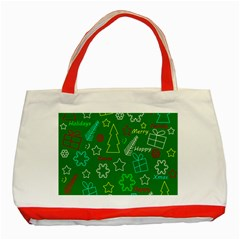 Green Xmas pattern Classic Tote Bag (Red)