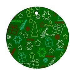 Green Xmas pattern Round Ornament (Two Sides)