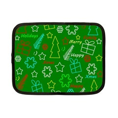 Green Xmas pattern Netbook Case (Small)