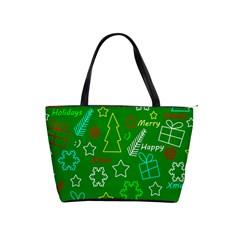 Green Xmas pattern Shoulder Handbags