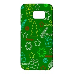 Green Xmas pattern Samsung Galaxy S7 Edge Hardshell Case
