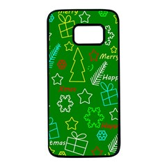 Green Xmas pattern Samsung Galaxy S7 Black Seamless Case