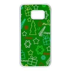 Green Xmas pattern Samsung Galaxy S7 White Seamless Case