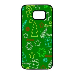 Green Xmas Pattern Samsung Galaxy S7 Edge Black Seamless Case