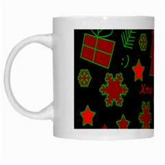 Red and green Xmas pattern White Mugs