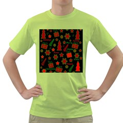 Red and green Xmas pattern Green T-Shirt