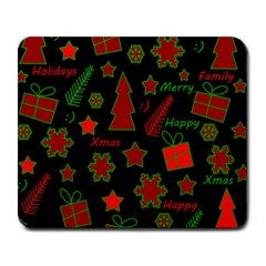 Red and green Xmas pattern Large Mousepads