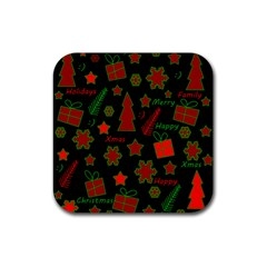Red and green Xmas pattern Rubber Coaster (Square)