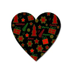 Red and green Xmas pattern Heart Magnet