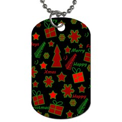 Red and green Xmas pattern Dog Tag (Two Sides)