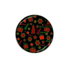 Red and green Xmas pattern Hat Clip Ball Marker (4 pack)