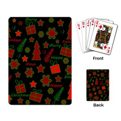 Red and green Xmas pattern Playing Card