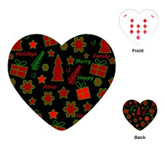 Red and green Xmas pattern Playing Cards (Heart)