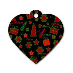 Red and green Xmas pattern Dog Tag Heart (One Side)