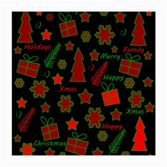 Red and green Xmas pattern Medium Glasses Cloth (2-Side)