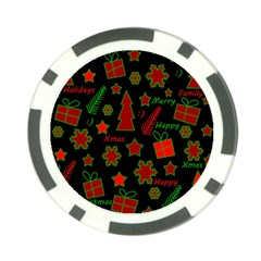 Red and green Xmas pattern Poker Chip Card Guards