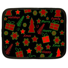 Red and green Xmas pattern Netbook Case (Large)