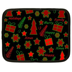 Red and green Xmas pattern Netbook Case (XXL)