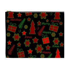 Red and green Xmas pattern Cosmetic Bag (XL)