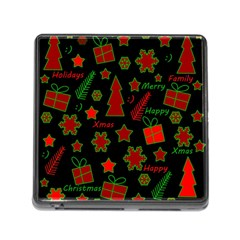 Red and green Xmas pattern Memory Card Reader (Square)
