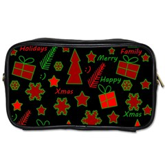 Red and green Xmas pattern Toiletries Bags