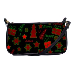 Red and green Xmas pattern Shoulder Clutch Bags