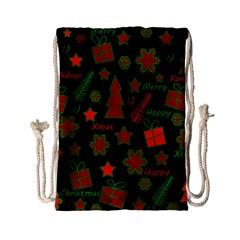 Red and green Xmas pattern Drawstring Bag (Small)