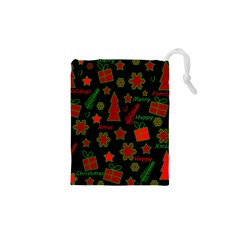 Red and green Xmas pattern Drawstring Pouches (XS)
