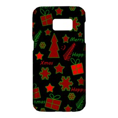 Red and green Xmas pattern Samsung Galaxy S7 Hardshell Case