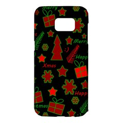 Red and green Xmas pattern Samsung Galaxy S7 Edge Hardshell Case