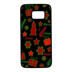 Red and green Xmas pattern Samsung Galaxy S7 Black Seamless Case