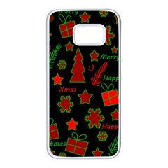 Red and green Xmas pattern Samsung Galaxy S7 White Seamless Case