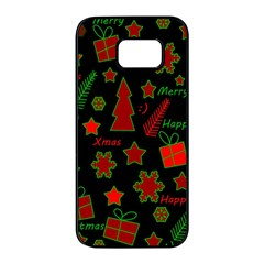 Red and green Xmas pattern Samsung Galaxy S7 edge Black Seamless Case