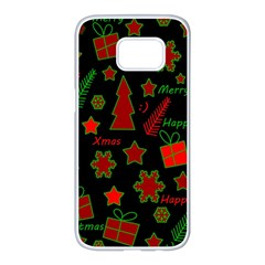 Red and green Xmas pattern Samsung Galaxy S7 edge White Seamless Case