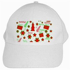 Red and green Christmas pattern White Cap