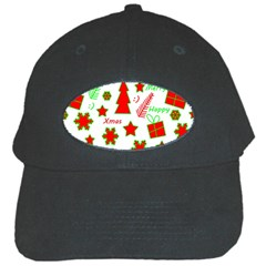 Red and green Christmas pattern Black Cap