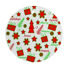 Red and green Christmas pattern Ornament (Round)