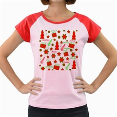 Red and green Christmas pattern Women s Cap Sleeve T-Shirt