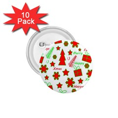 Red and green Christmas pattern 1.75  Buttons (10 pack)