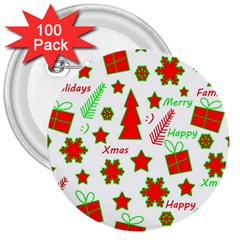 Red and green Christmas pattern 3  Buttons (100 pack)