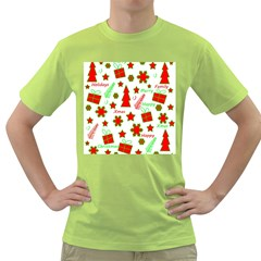 Red and green Christmas pattern Green T-Shirt