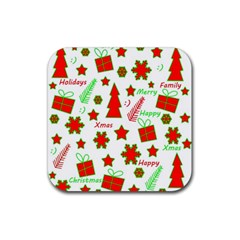 Red and green Christmas pattern Rubber Coaster (Square)