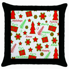Red and green Christmas pattern Throw Pillow Case (Black)