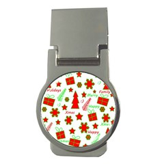Red and green Christmas pattern Money Clips (Round)