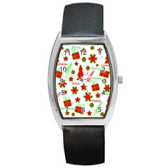Red and green Christmas pattern Barrel Style Metal Watch