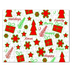 Red and green Christmas pattern Rectangular Jigsaw Puzzl
