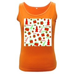 Red and green Christmas pattern Women s Dark Tank Top